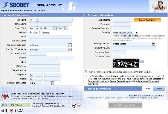 Cara bikin akun judi online pada agen resmi sbobet online